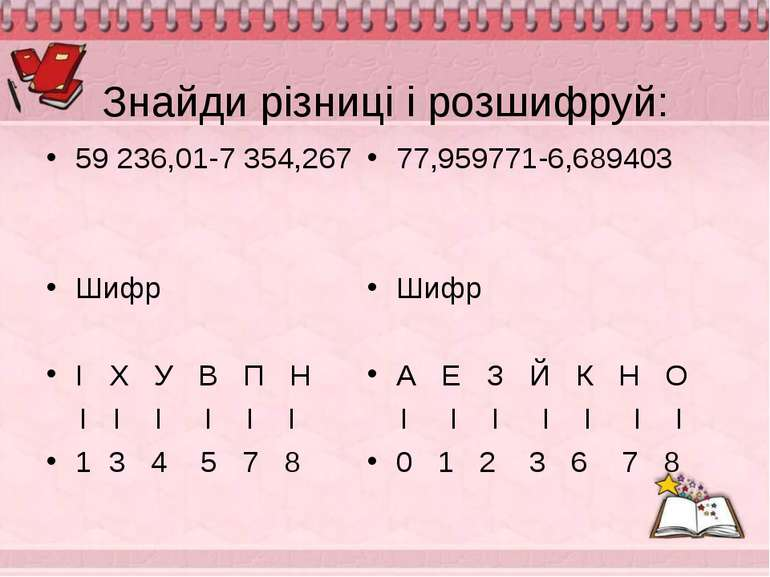 Знайди різниці і розшифруй: 59 236,01-7 354,267 Шифр І Х У В П Н І І І І І І ...
