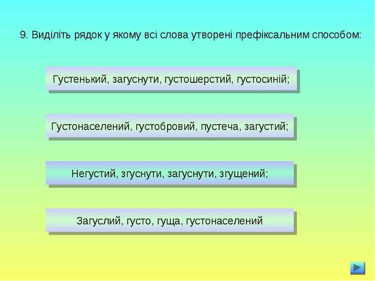 9. Виділіть рядок у якому всі слова утворені префіксальним способом: Густеньк...