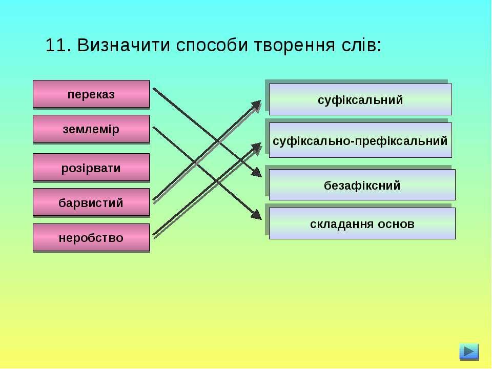 11. Визначити способи творення слів: переказ землемір розірвати барвистий нер...