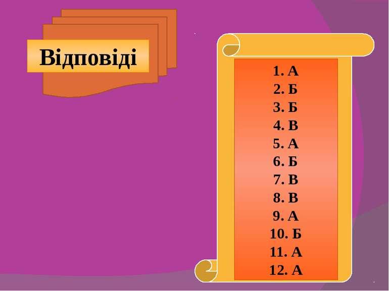 Відповіді 1. А 2. Б 3. Б 4. В 5. А 6. Б 7. В 8. В 9. А 10. Б 11. А 12. А