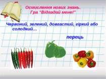 Червоний, зелений, довгастий, гіркий або солодкий… Осмислення нових знань. Гр...