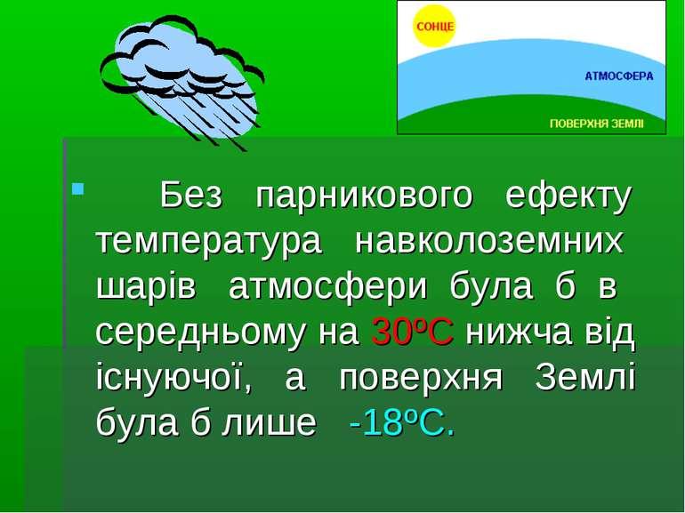 Без парникового ефекту температура навколоземних шарів атмосфери була б в сер...