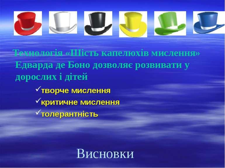 Висновки Технологія «Шість капелюхів мислення» Едварда де Боно дозволяє розви...