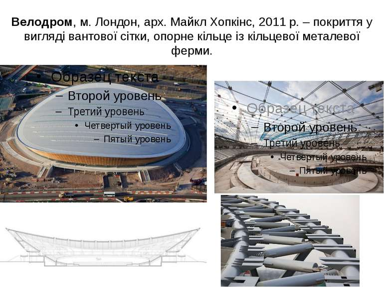 Велодром, м. Лондон, арх. Майкл Хопкінс, 2011 р. – покриття у вигляді вантово...