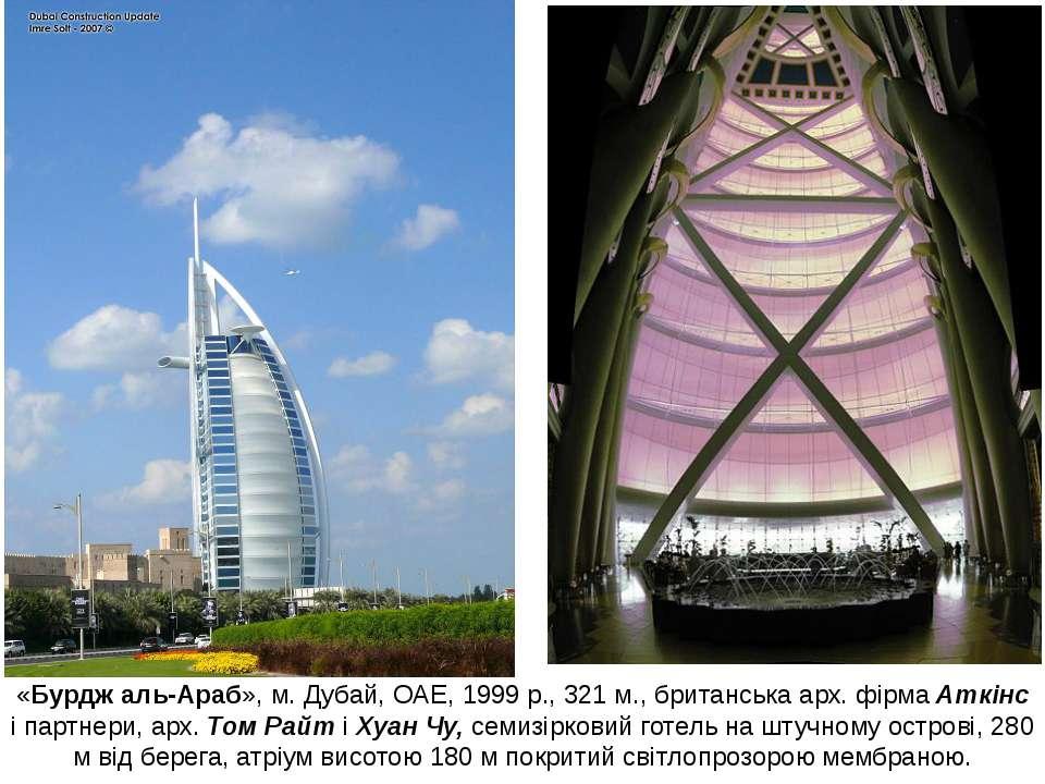 «Бурдж аль-Араб», м. Дубай, ОАЕ, 1999 р., 321 м., британська арх. фірма Аткін...
