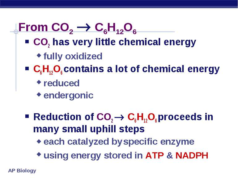From CO2 C6H12O6 CO2 has very little chemical energy fully oxidized C6H12O6 c...