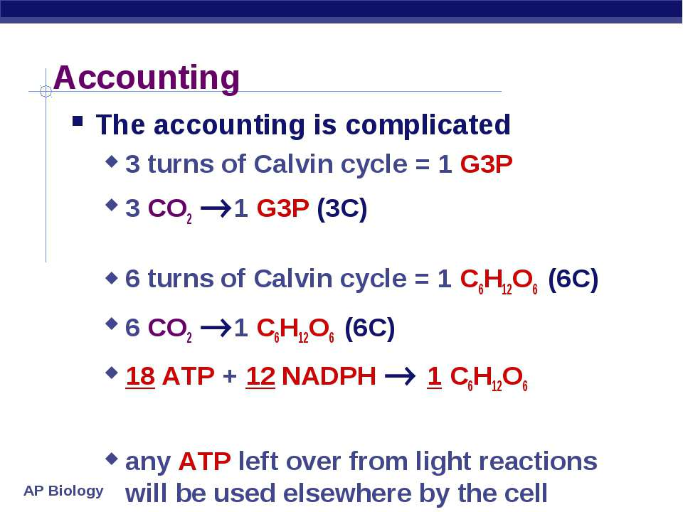 Accounting The accounting is complicated 3 turns of Calvin cycle = 1 G3P 3 CO...