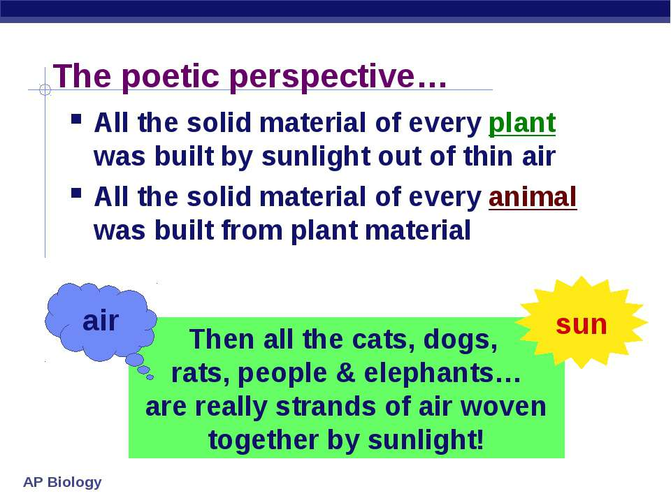The poetic perspective… All the solid material of every plant was built by su...