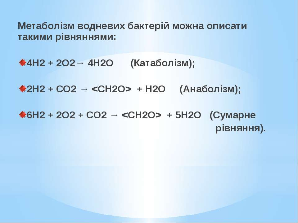 Метаболізм водневих бактерій можна описати такими рівняннями:  4Н2 + 2О2→ 4Н...