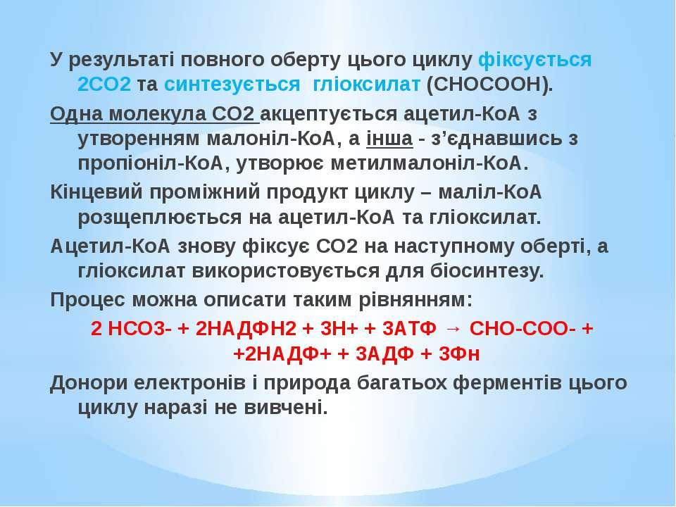 У результаті повного оберту цього циклу фіксується 2СО2 та синтезується гліок...