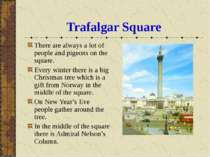 Trafalgar Square There are always a lot of people and pigeons on the square. ...
