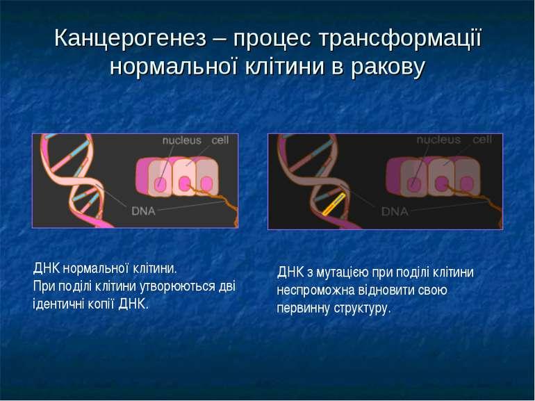 Канцерогенез – процес трансформації нормальної клітини в ракову ДНК нормально...