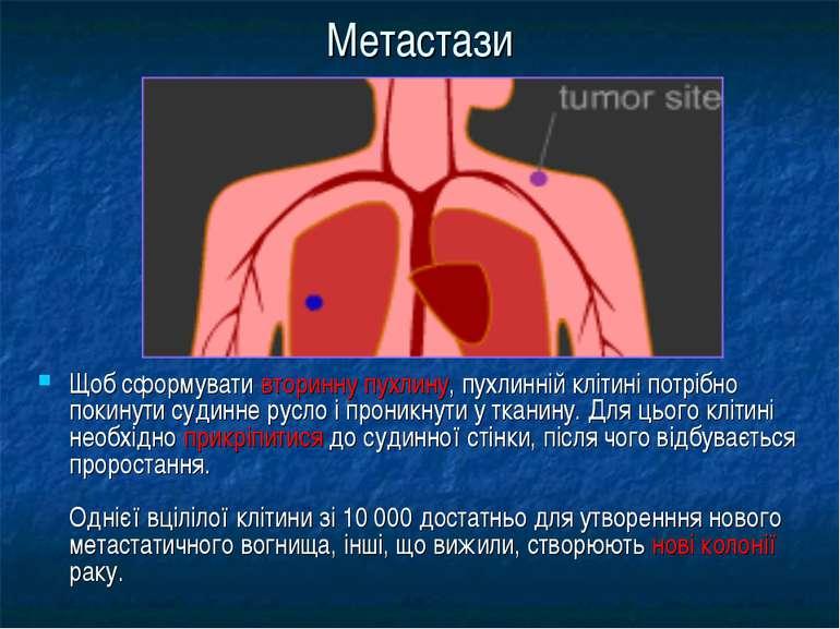 Метастази Щоб сформувати вторинну пухлину, пухлинній клітині потрібно покинут...