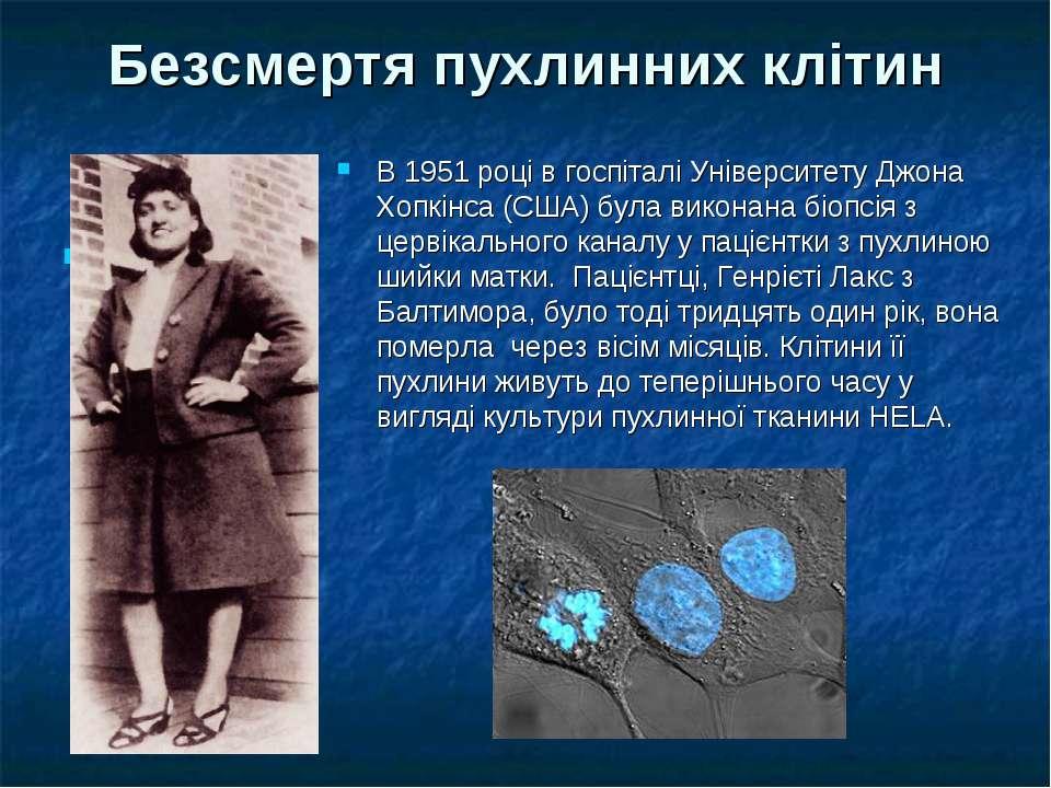 Безсмертя пухлинних клітин 1 В 1951 році в госпіталі Університету Джона Хопкі...