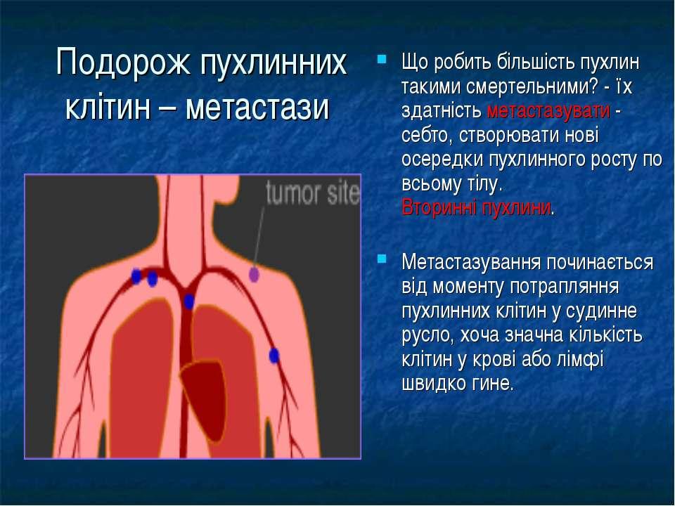 Подорож пухлинних клітин – метастази Що робить більшість пухлин такими смерте...