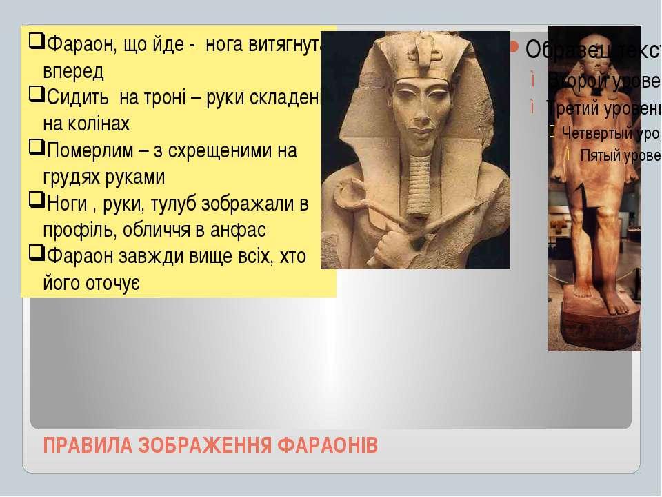 ПРАВИЛА ЗОБРАЖЕННЯ ФАРАОНІВ Фараон, що йде - нога витягнута вперед Сидить на ...