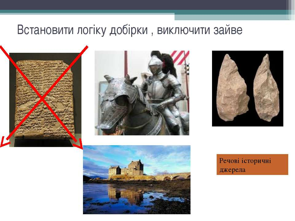 Встановити логіку добірки , виключити зайве Речові історичні джерела