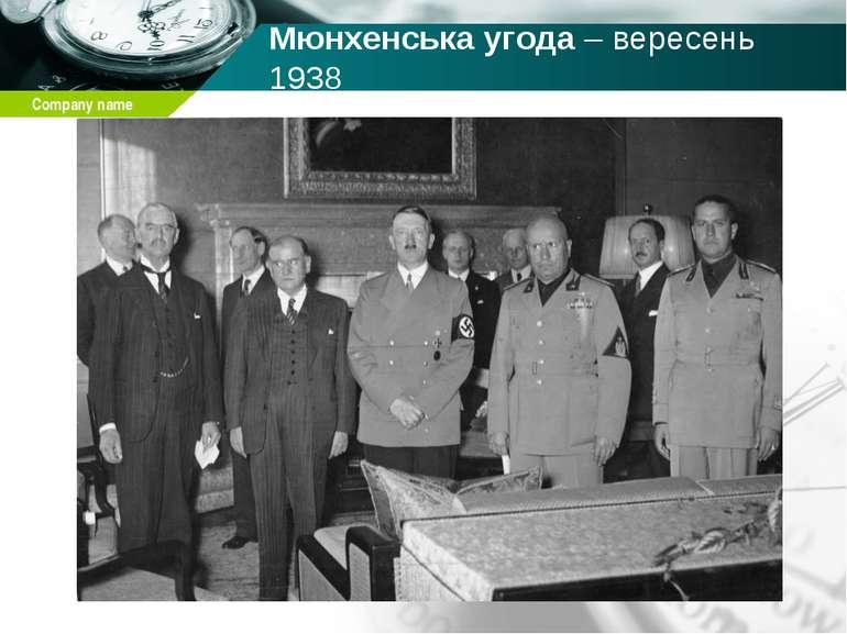 Мюнхенська угода – вересень 1938 Company name