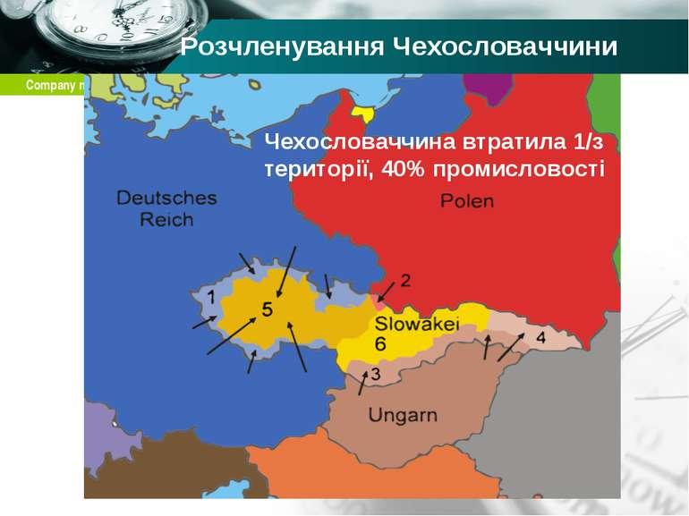 Розчленування Чехословаччини Чехословаччина втратила 1/з території, 40% проми...