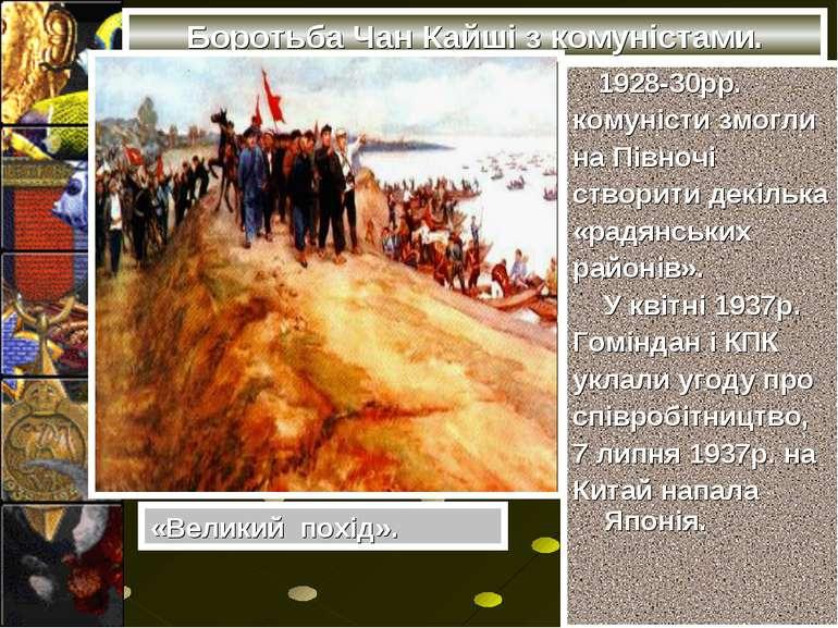 Боротьба Чан Кайші з комуністами. 1928-30рр. комуністи змогли на Півночі ство...