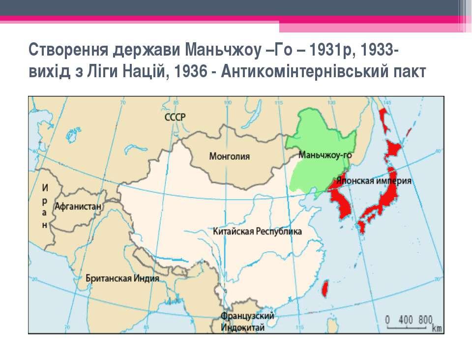 Створення держави Маньчжоу –Го – 1931р, 1933- вихід з Ліги Націй, 1936 - Анти...