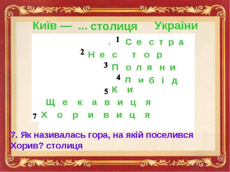 Київ — ... України С е с т р а Н е с т о р П о л я н и Л и б і д ь К и й Щ е ...