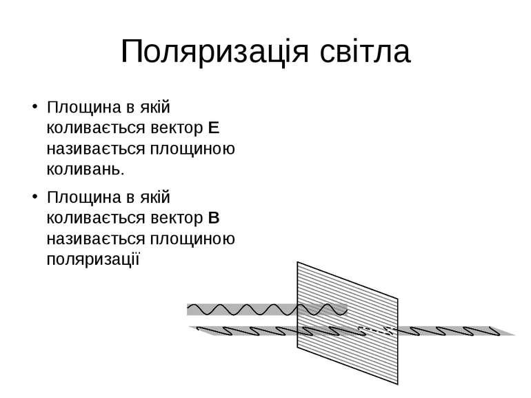 Поляризація світла Площина в якій коливається вектор Е називається площиною к...