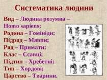 Систематика людини Вид – Людина розумна – Homo sapiens; Родина – Гомініди; Пі...