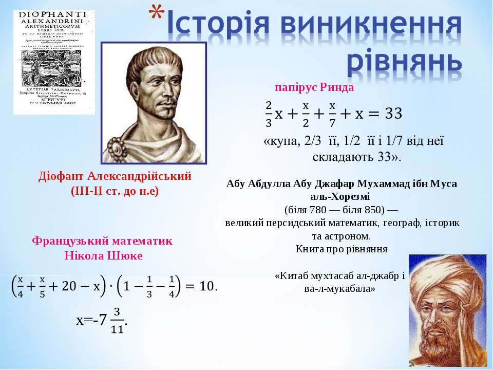 Французький математик Нікола Шюке Діофант Александрійський (ІІІ-ІІ ст. до н.е...