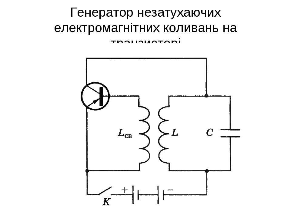 Генератор незатухаючих електромагнітних коливань на транзисторі