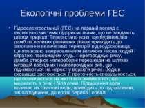 Екологічні проблеми ГЕС Гідроелектростанції (ГЕС) на перший погляд є екологіч...