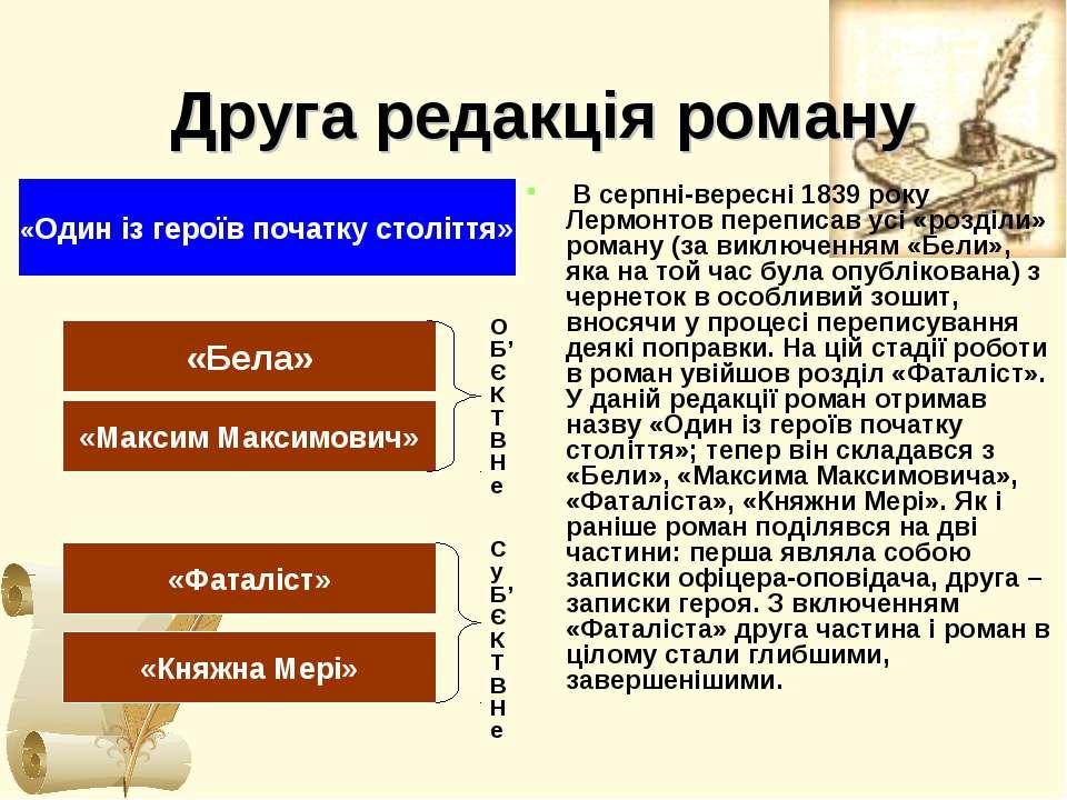 Друга редакція роману В серпні-вересні 1839 року Лермонтов переписав усі «роз...