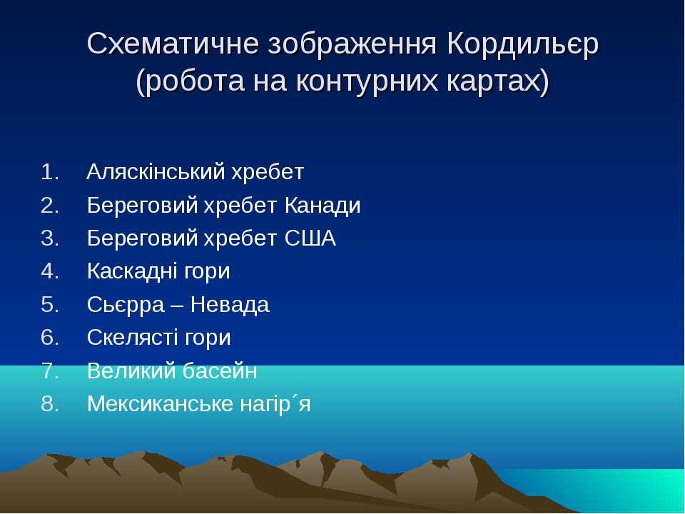 Схематичне зображення Кордильєр (робота на контурних картах) Аляскінський хре...