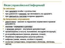 Види управлінської інформації За змістом: про здоров'я особи і суспільства; п...