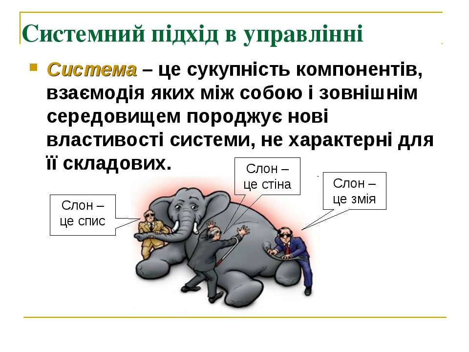 Системний підхід в управлінні Система – це сукупність компонентів, взаємодія ...