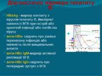 Діагностичні маркери гепатиту В HBsAg - маркер контакту з вірусом гепатиту В,...