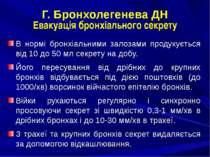 Г. Бронхолегенева ДН Евакуація бронхіального секрету В нормі бронхіальними за...