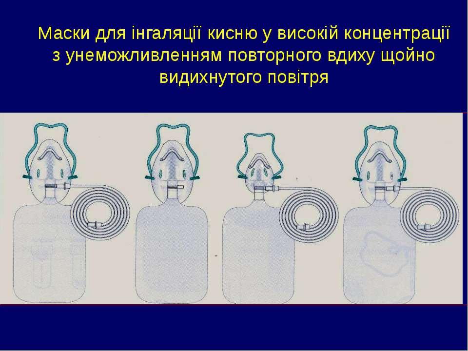 Маски для інгаляції кисню у високій концентрації з унеможливленням повторного...