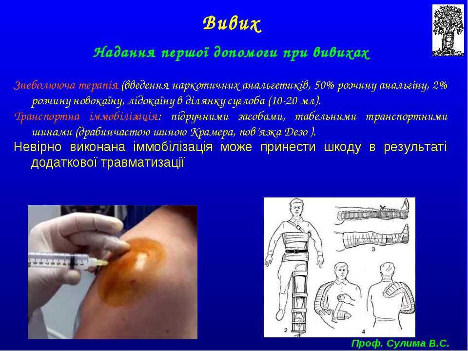 Надання першої допомоги при вивихах Знеболююча терапія (введення наркотичних ...