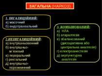 ЗАГАЛЬНА (НАРКОЗ) 1. ІНГАЛЯЦІЙНИЙ: а) масочний б) ендотрахеальний 2.НЕІНГАЛЯЦ...