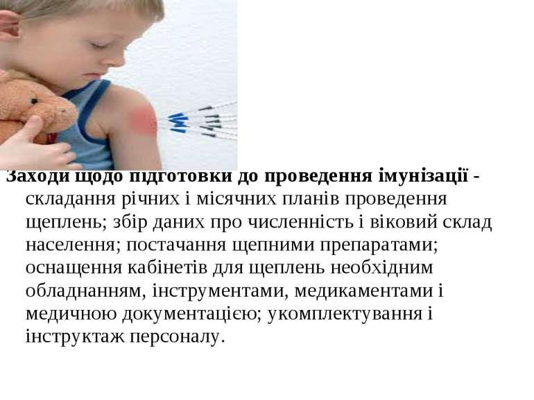 Заходи щодо підготовки до проведення імунізації - складання річних і місячних...