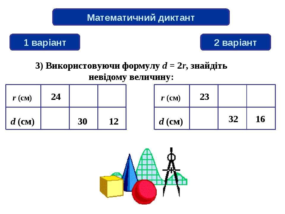 Математичний диктант 1 варіант 2 варіант 3) Використовуючи формулу d = 2r, зн...