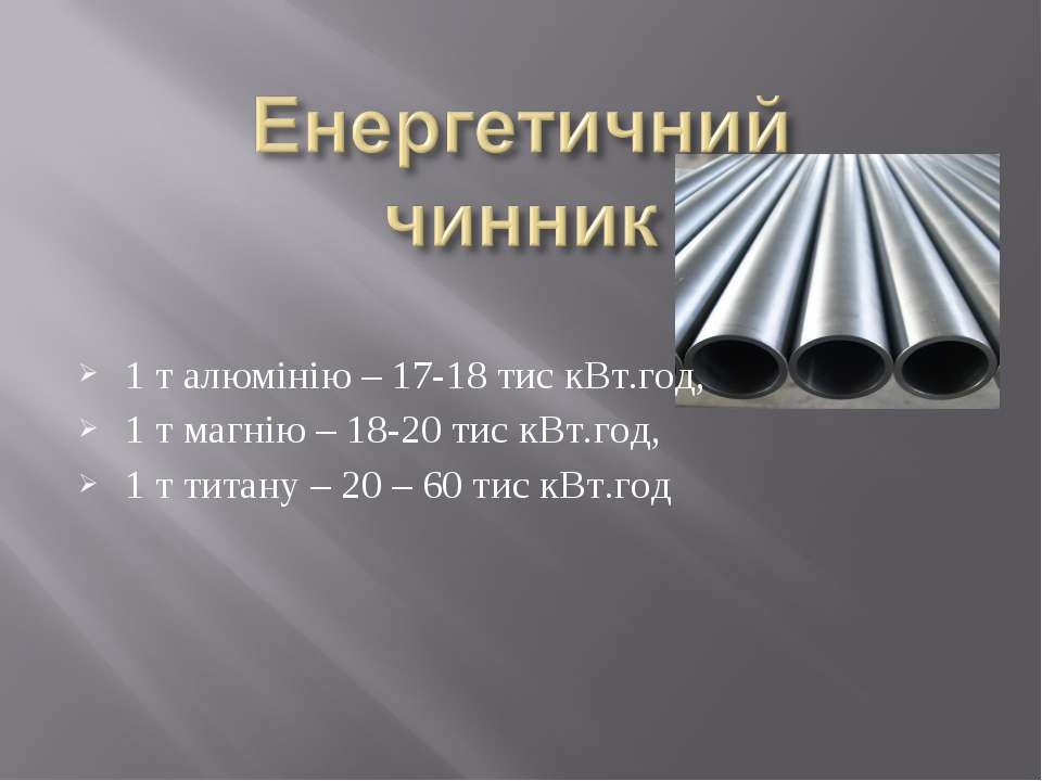 1 т алюмінію – 17-18 тис кВт.год, 1 т магнію – 18-20 тис кВт.год, 1 т титану ...