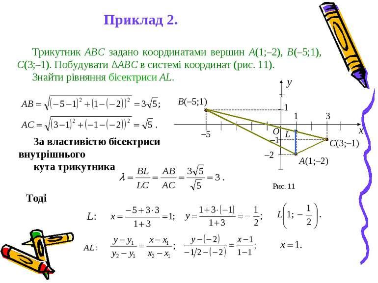 За властивістю бісектриси внутрішнього кута трикутника Тоді Приклад 2. Трикут...