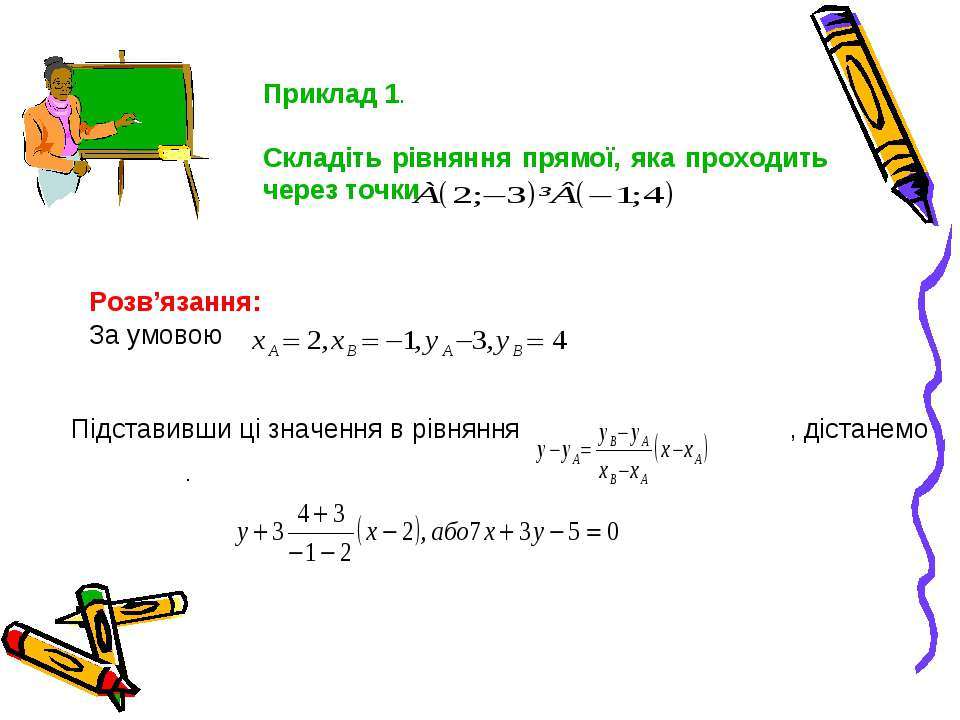 Приклад 1. Складіть рівняння прямої, яка проходить через точки Розв'язання: З...