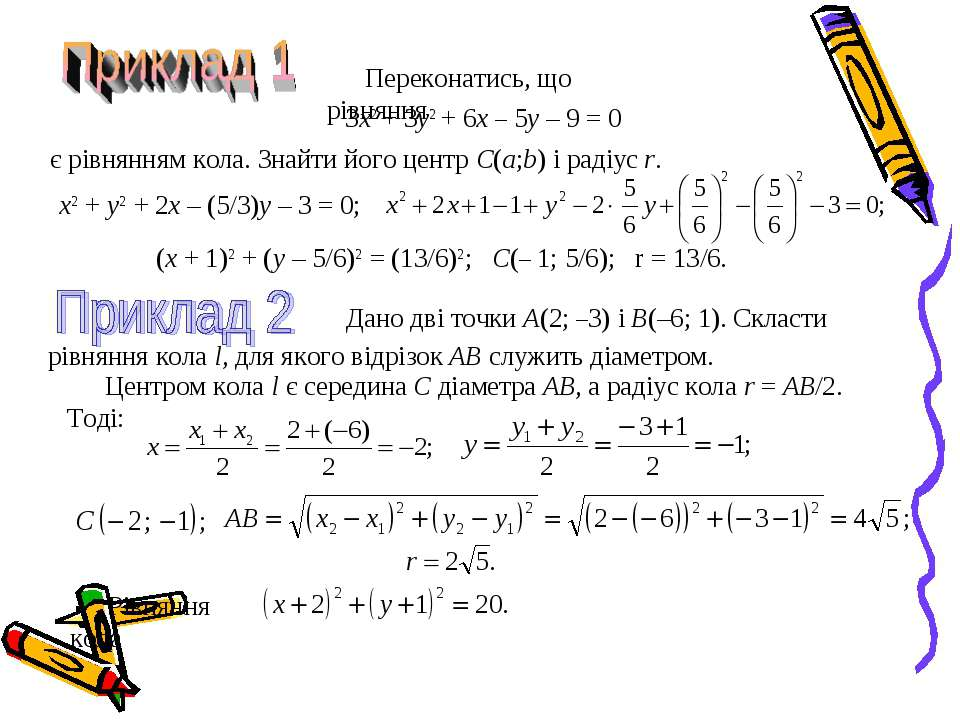 Переконатись, що рівняння 3x2 + 3y2 + 6x – 5y – 9 = 0 є рівнянням кола. Знайт...