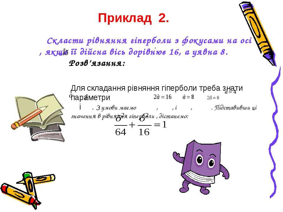 , Скласти рівняння гіперболи з фокусами на осі , якщо її дійсна вісь дорівнює...