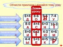 6+4 Д 9-5 Л 8-6 О 7-4 У Тисни на приклад з відповіддю 4 Л І 6+3 Н Тисни на пр...
