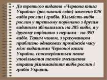 До третього видання «Червона книга України» (рослинний світ) занесено 826 вид...