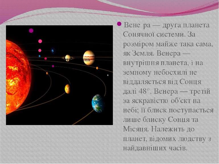 Вене ра— друга планета Сонячної системи. За розміром майже така сама, як Зем...